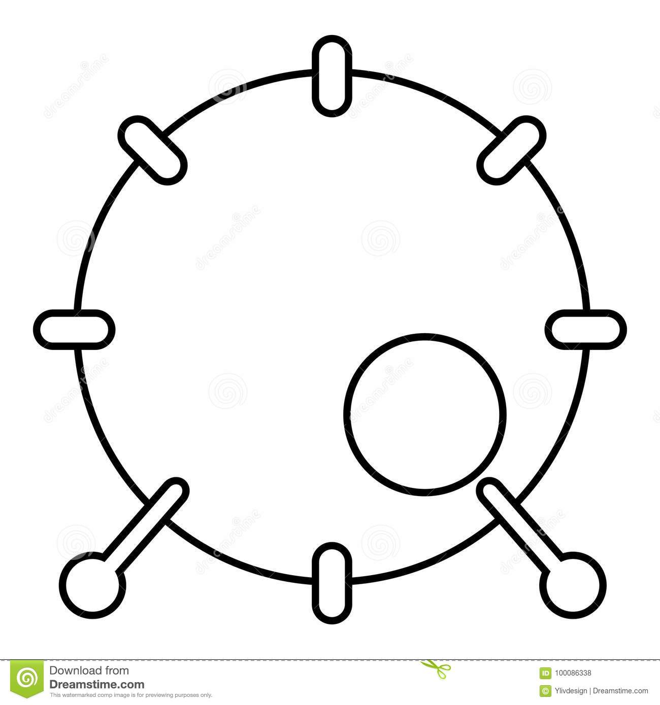 Drum Icon Outline Style Stock Vector Illustration Of