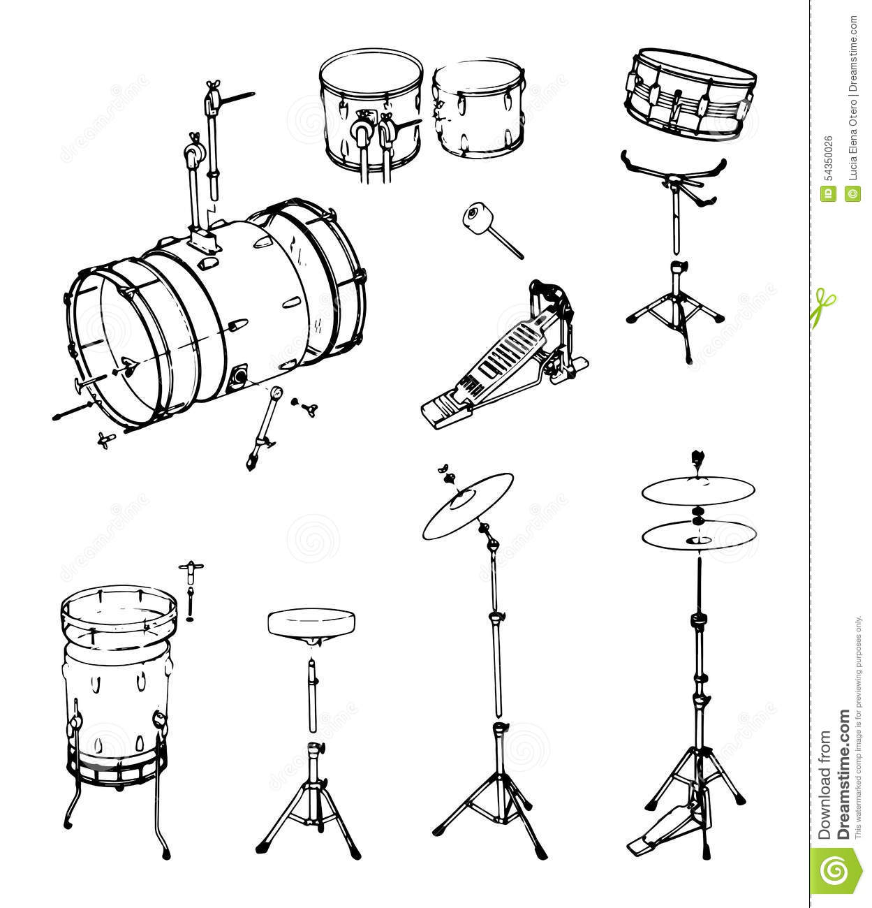 Drum Kit Stock Vector Illustration Of Play Shell Clamp
