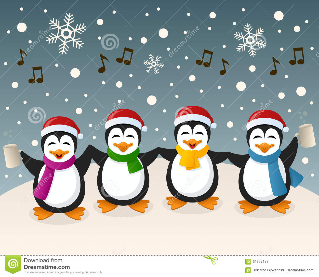 Drunk Penguins Singing On The Snow Stock Vector