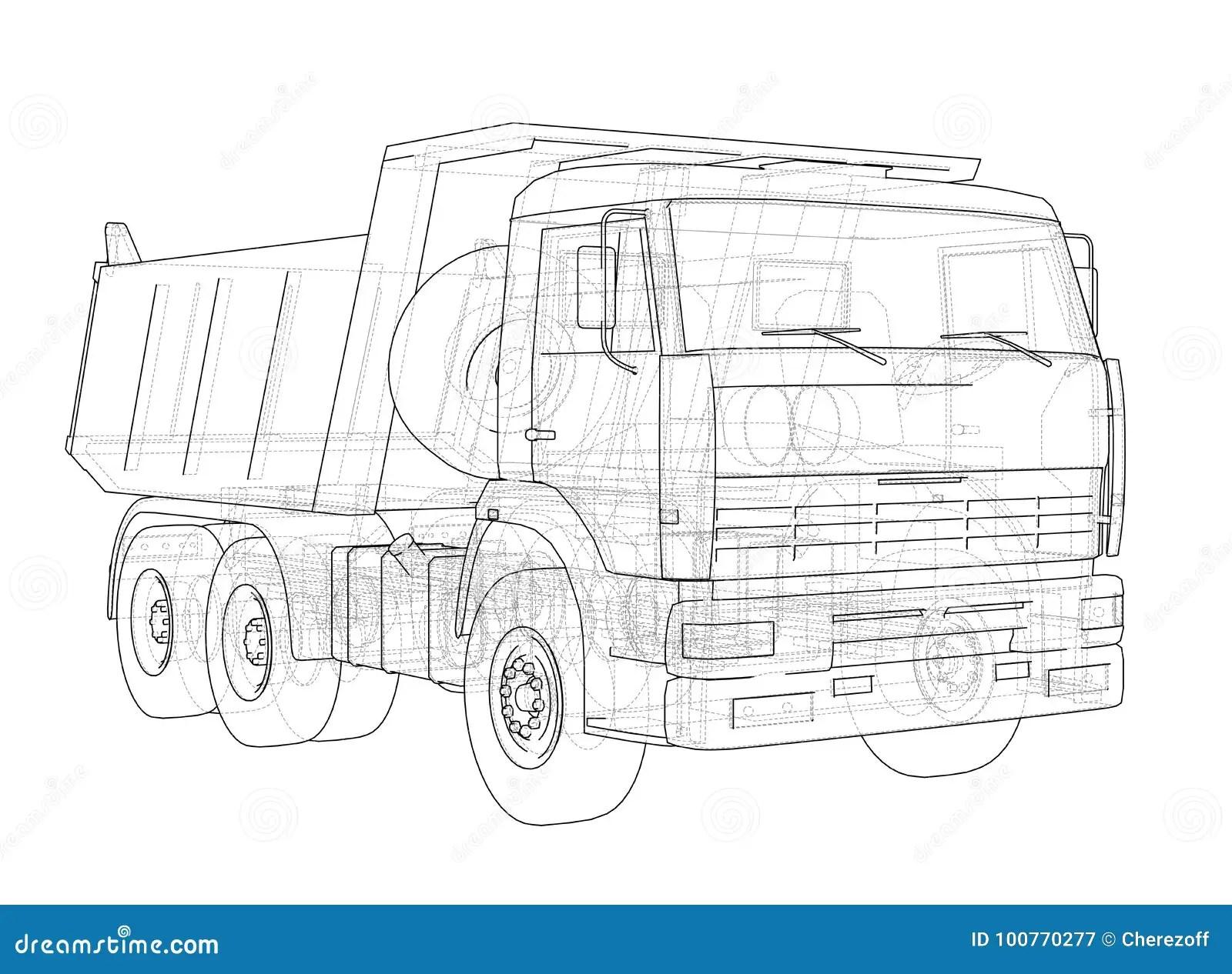 Dump Truck Vector Stock Vector Illustration Of Drawing