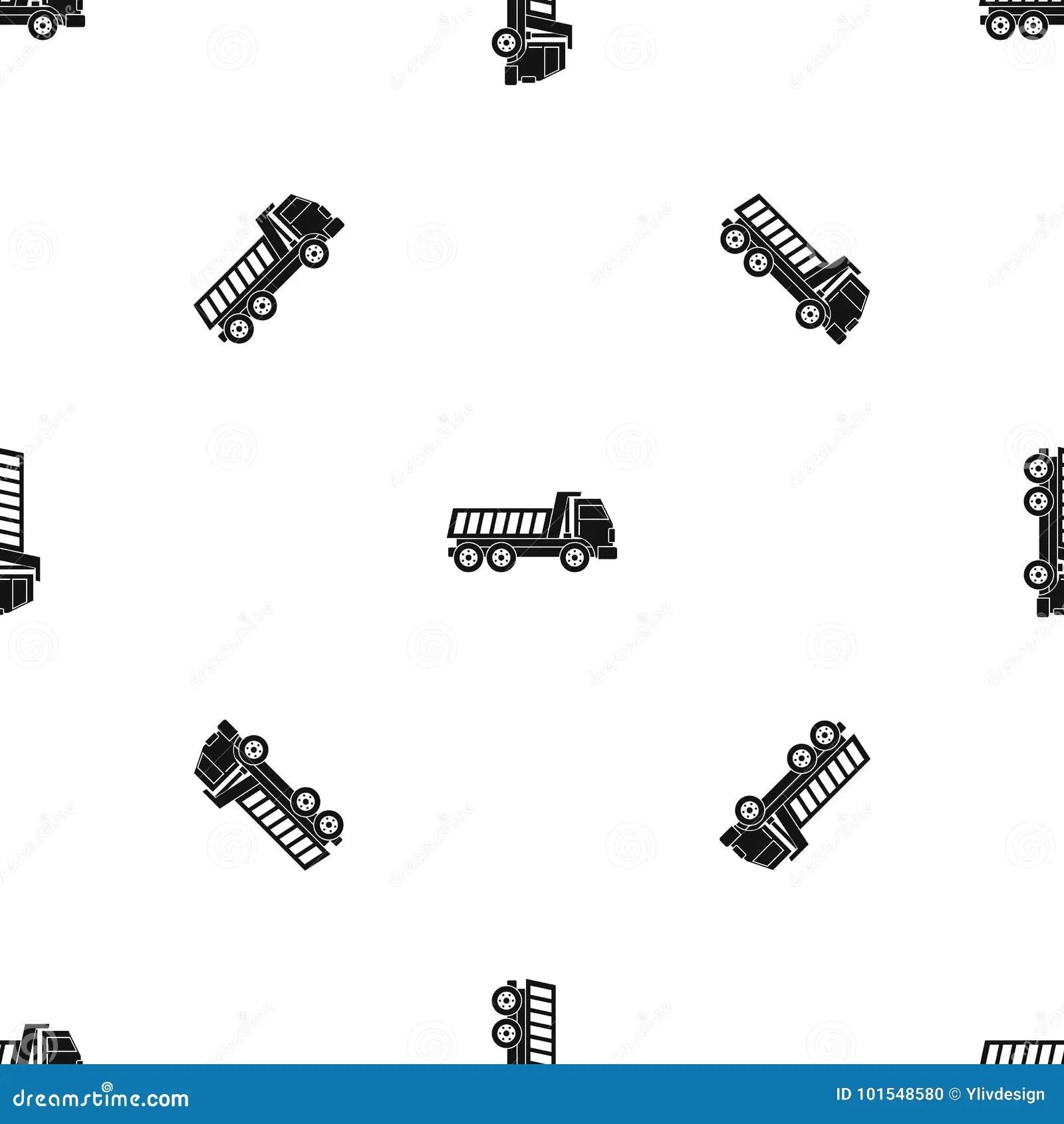 Dumper Truck Pattern Seamless Black Stock Vector