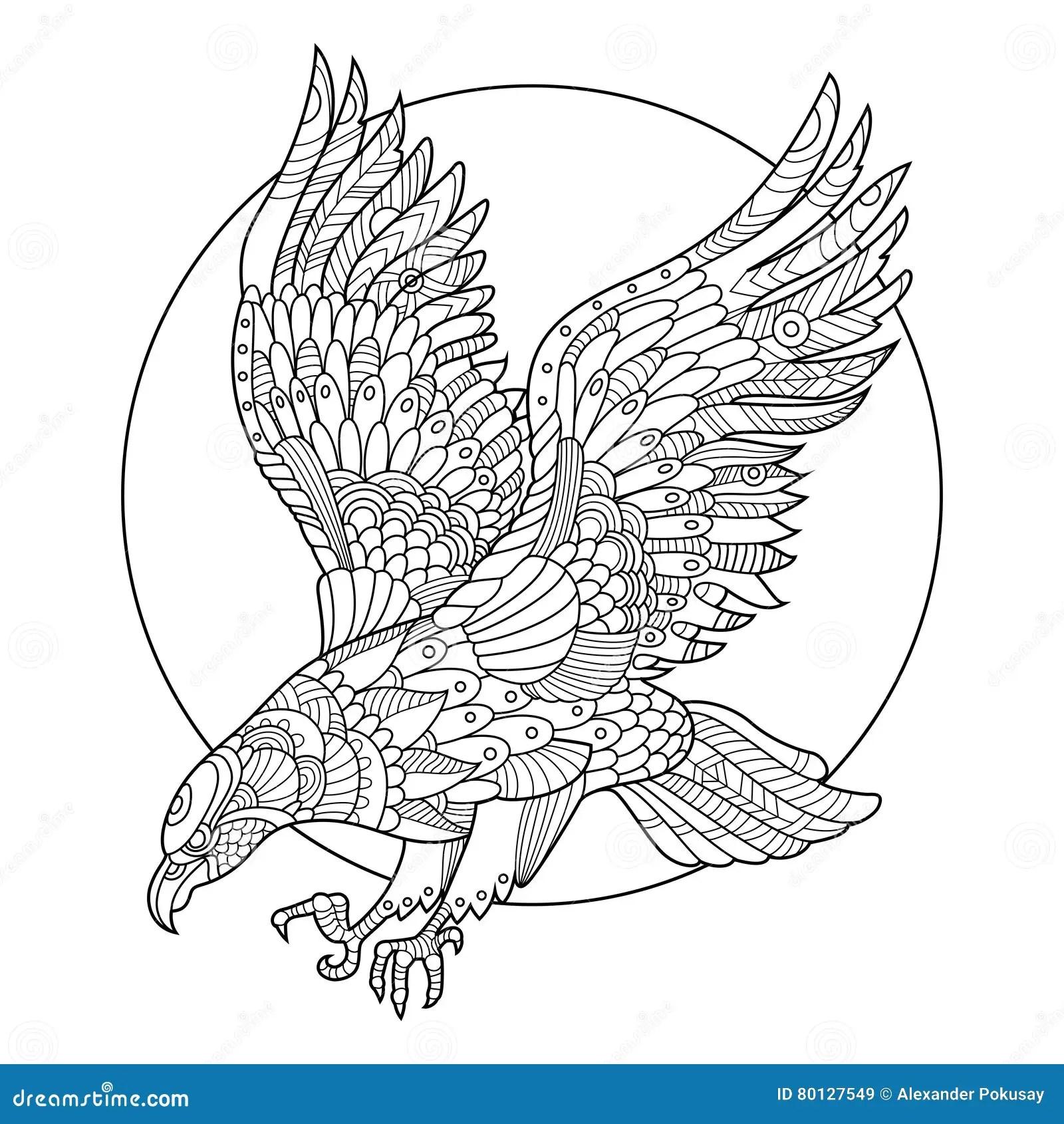 Eagle Bird Coloring Book For Adults Vector Stock Vector