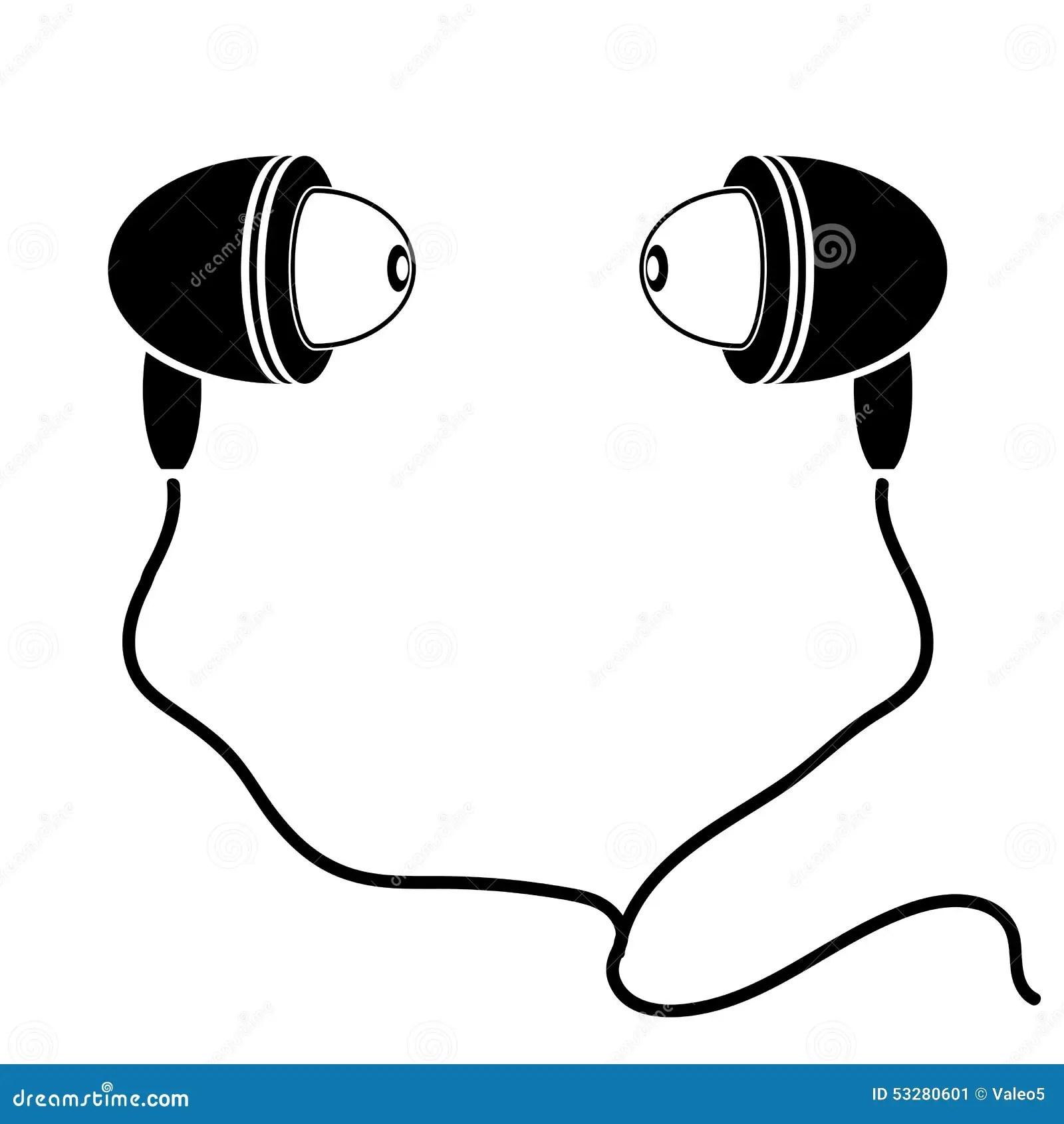 Earphones Silhouette Stock Vector Illustration Of