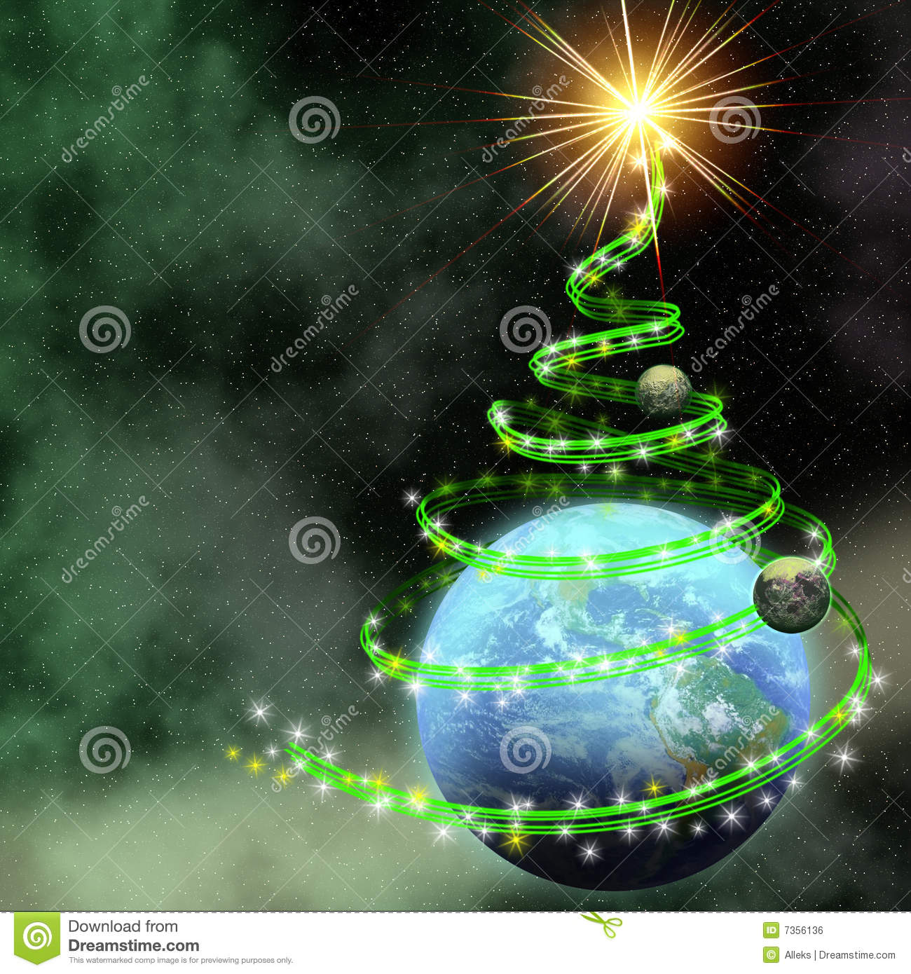 Earth With Abstract Christmas Tree Spiral Royalty Free