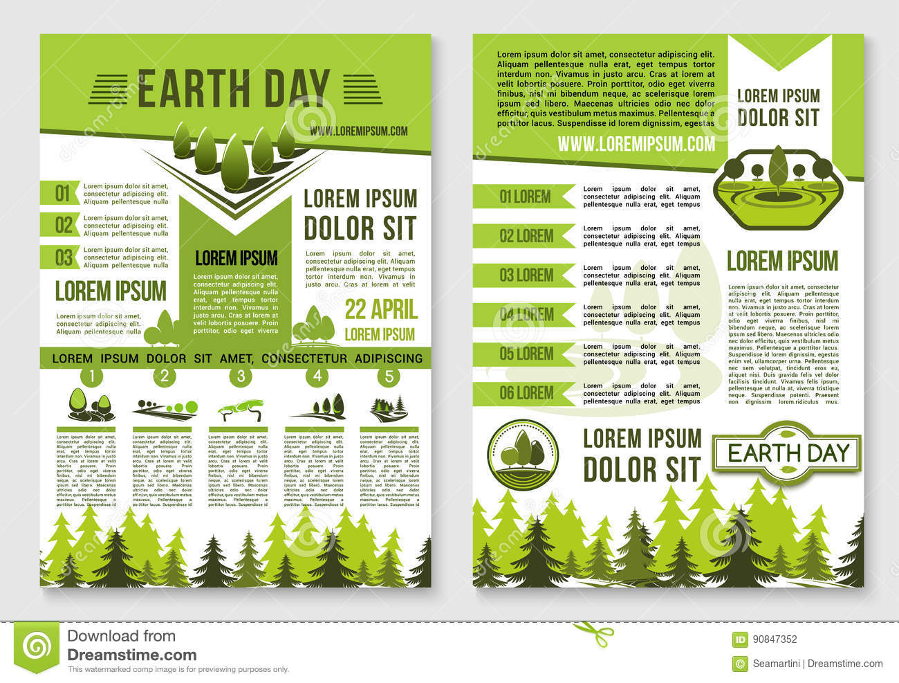 Earth Day Brochure Template For Ecology Design Stock