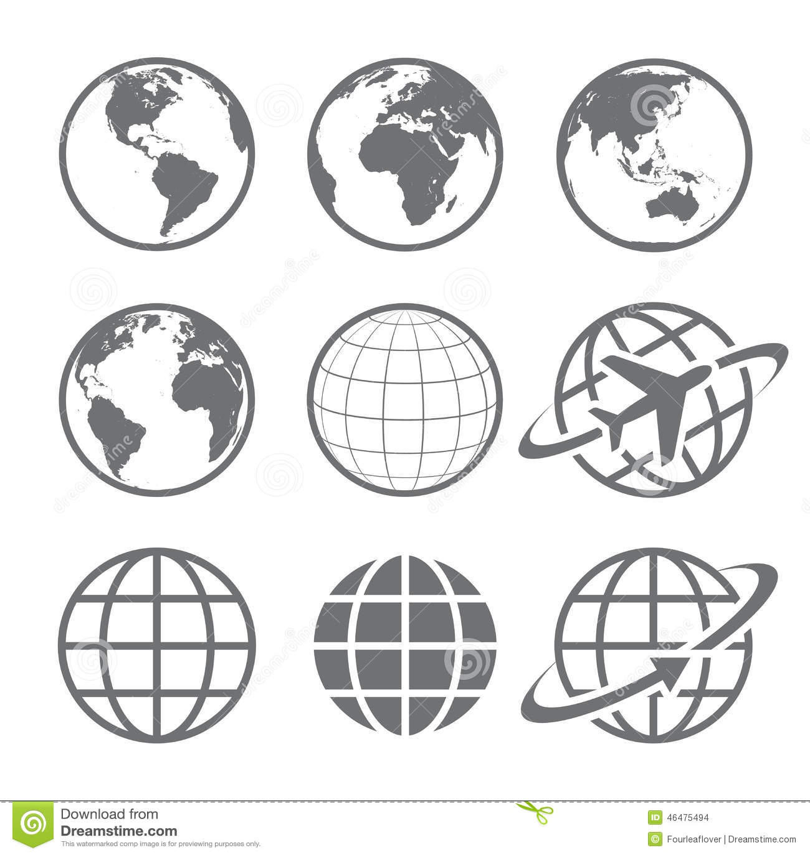 Earth Globe Icon Set Stock Vector