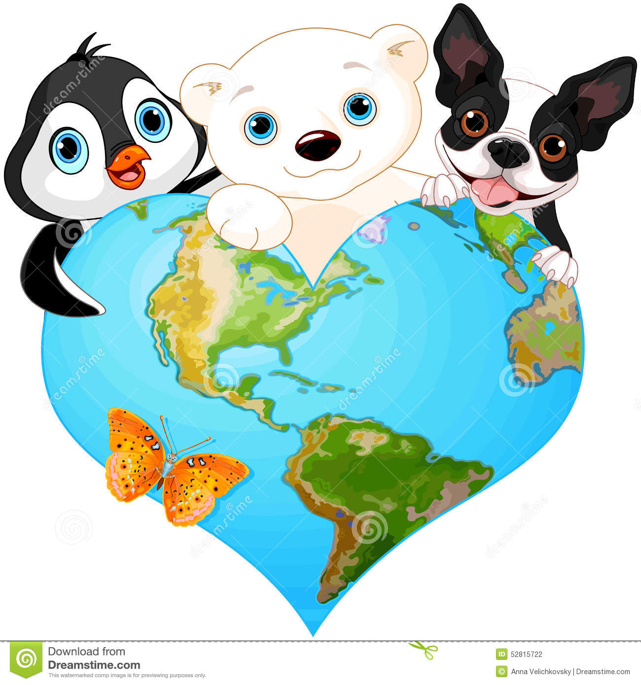 Earth Heart With Animals Stock Vector Illustration Of