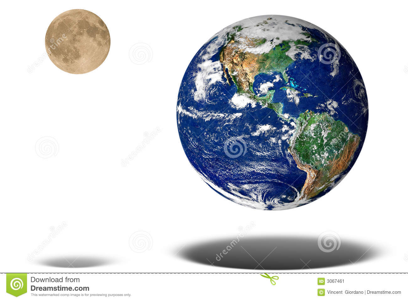 Earth And Moon Floating Stock Image