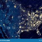 Earth At Night View Of City Lights In United States From Space Usa On World Map On Global Satellite Photo Us Terrain On Dark Stock Image Image Of Energy Orbit 177136961