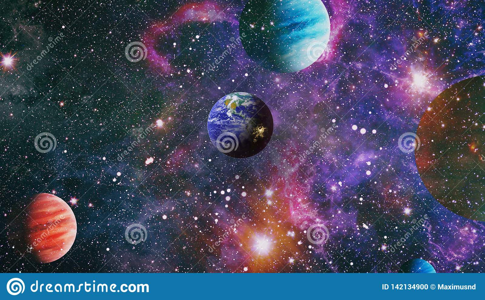 Earth In The Outer Space Collage Earth And Galaxies In