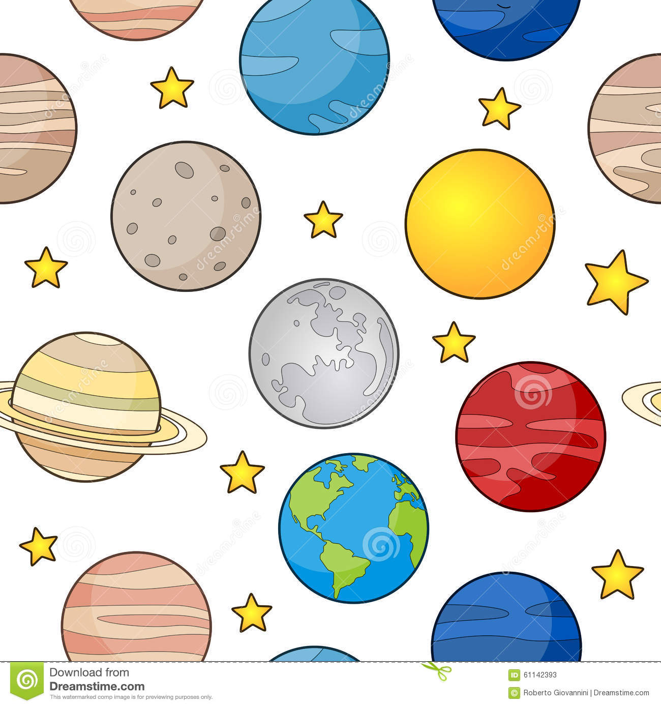 Earth And Planets Seamless Pattern Stock Vector