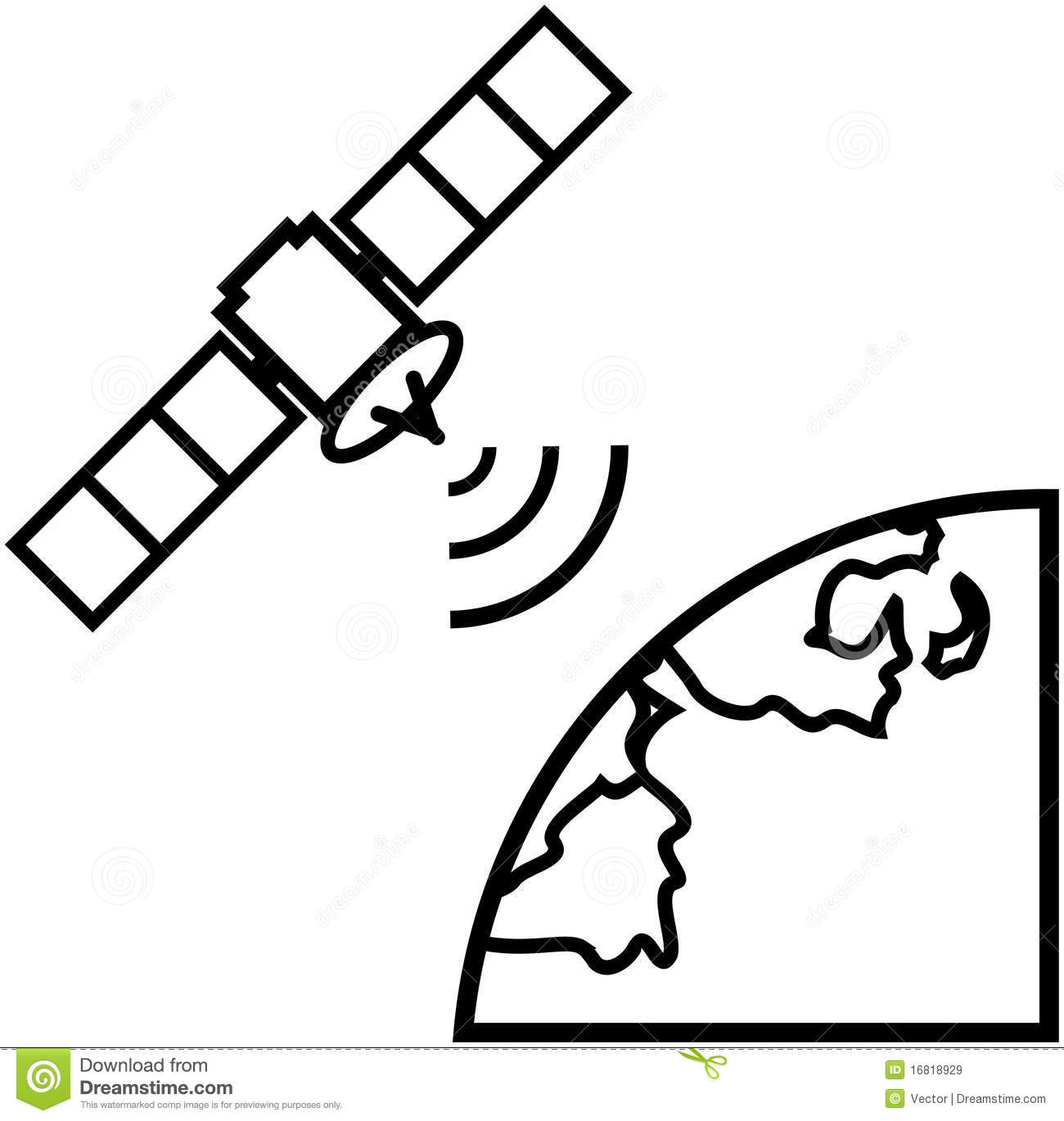 Earth Satellite View Vector Illustration Royalty Free