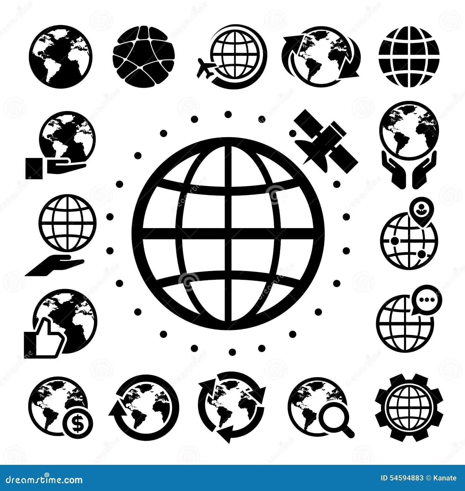 Earth Vector Icons Set Cartoon Vector