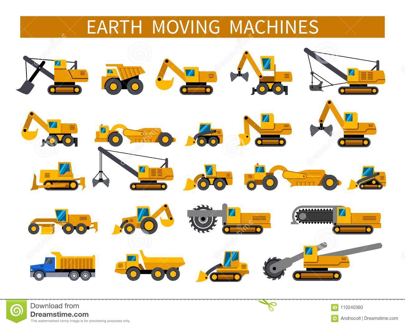 Earthmoving Machines Icons Set Stock Vector