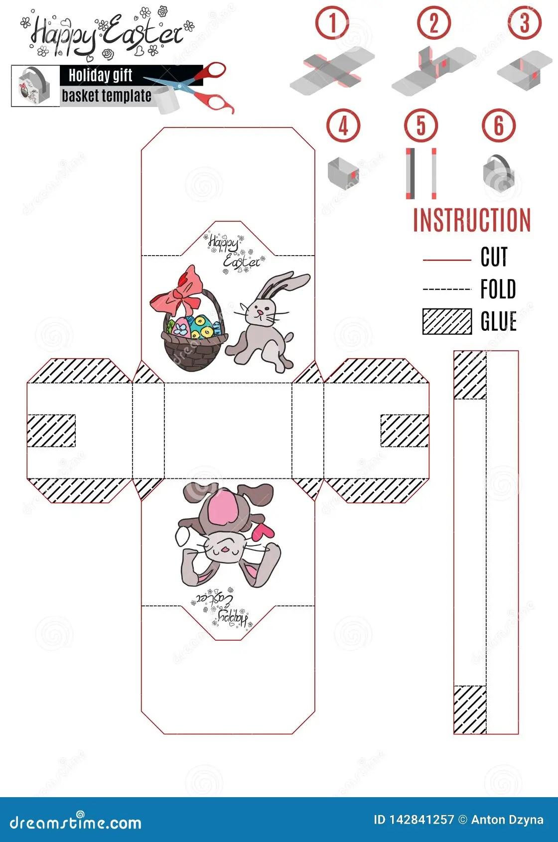 Easter Basket Paper Template Kids With Rabbit And Basket Stock Illustration Illustration Of Illustration Hide 142841257