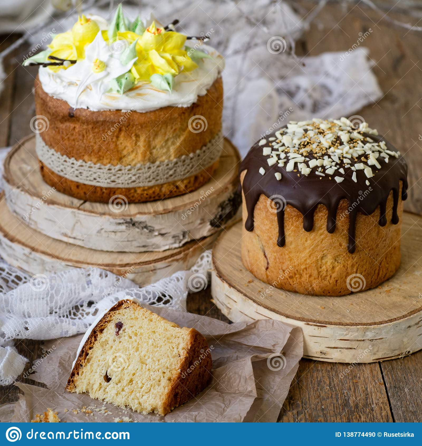Easter Cake Kulich Traditional Easter Sweet Bread Decorated Meringue Chocolate And Yellow Daffodils On Wooden Background With Stock Photo Image Of Daffodils Culture 138774490