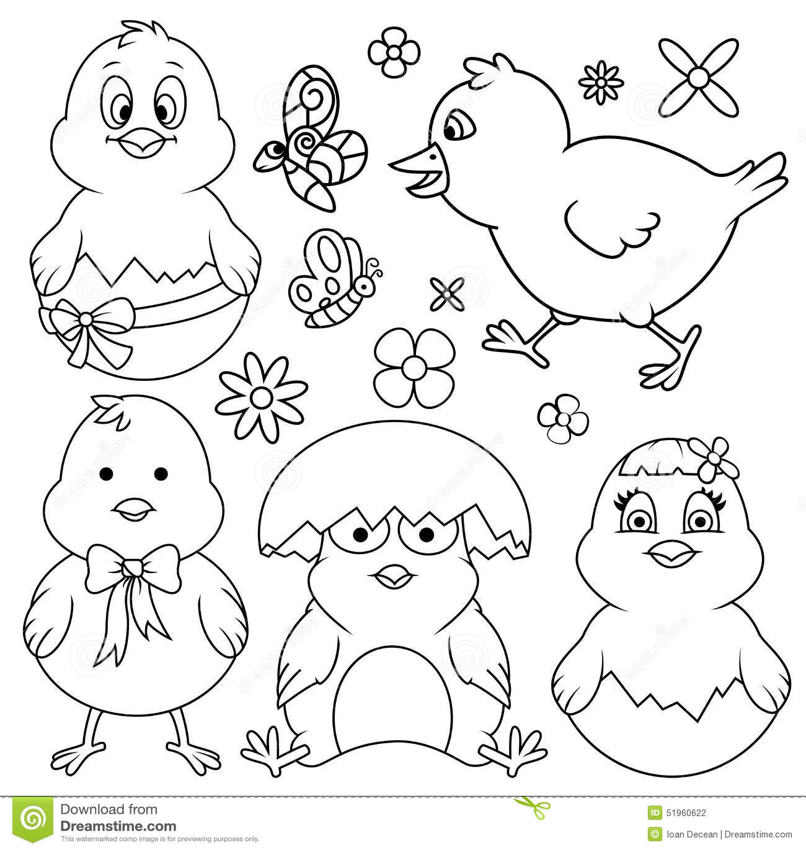 Easter Cartoon Chicken Line Art Set Stock Illustration