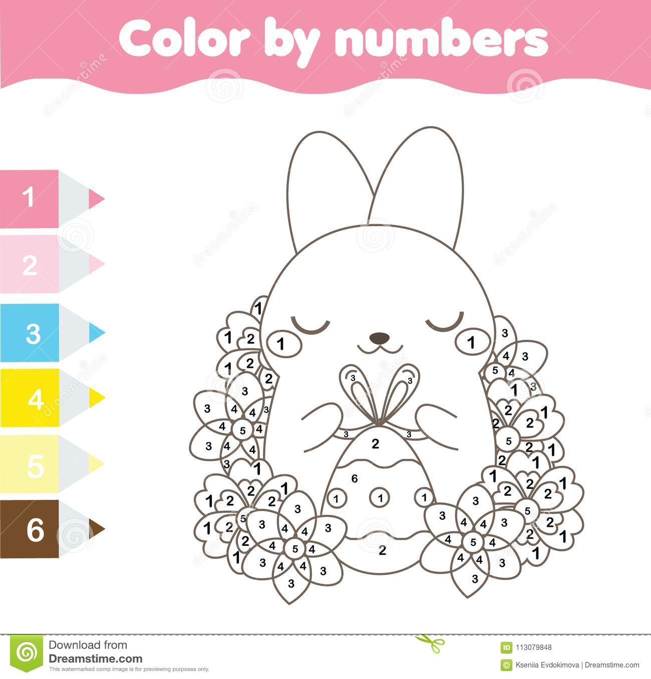 Easter Coloring Page Color By Numbers Printable Worksheet Cute Easter Rabbit With Egg