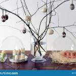 Easter Decoration With Birch Tree Branches In The Vase With Knitted Easter Toys Stock Photo Image Of Holiday Bunnies 171326232