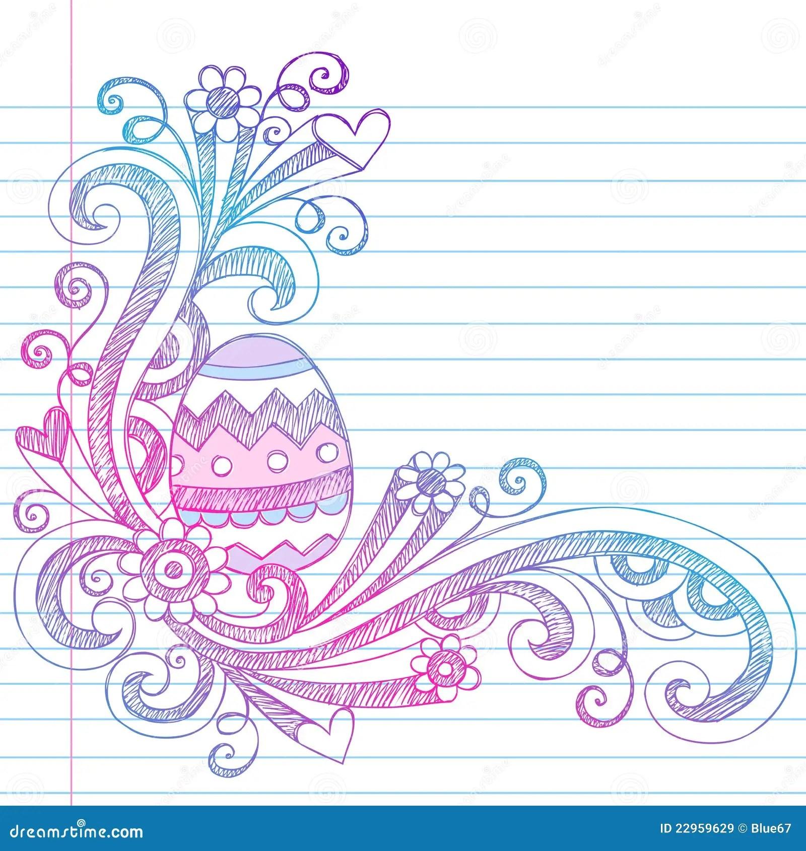 Easter Egg Spring Sketchy Doodles Vector Stock