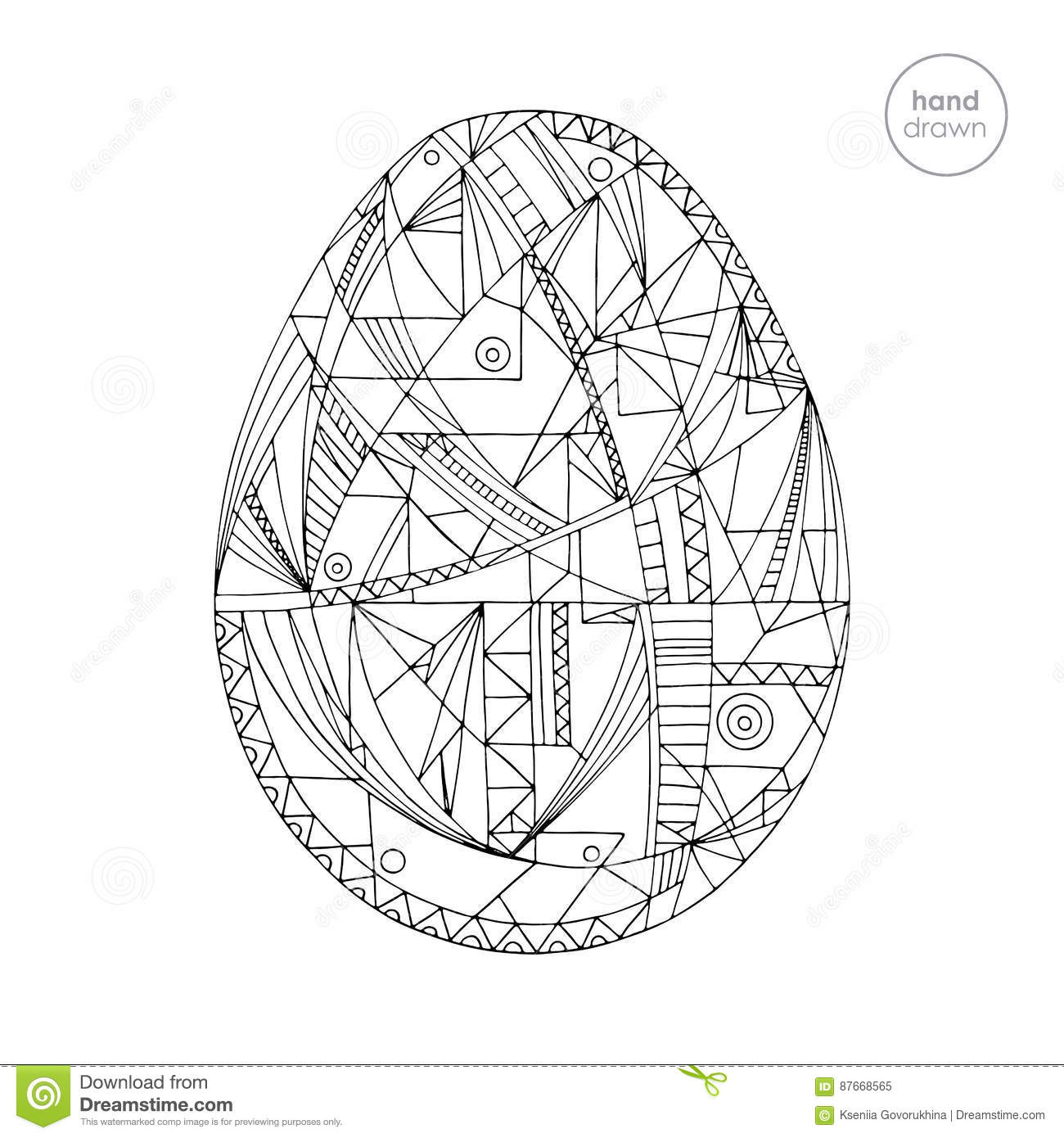 Easter Egg Vector Illustration Hand Drawn Abstract