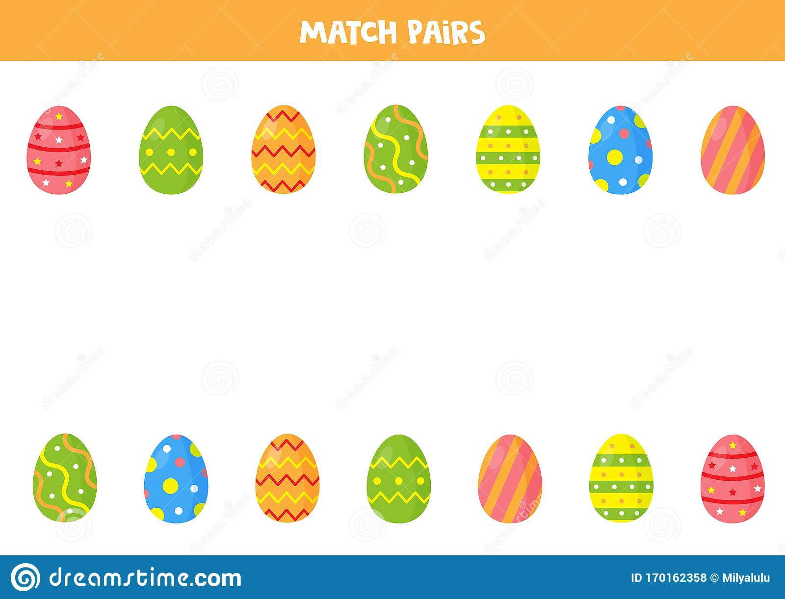 Easter Eggs Matching Game For Preschool Children Find