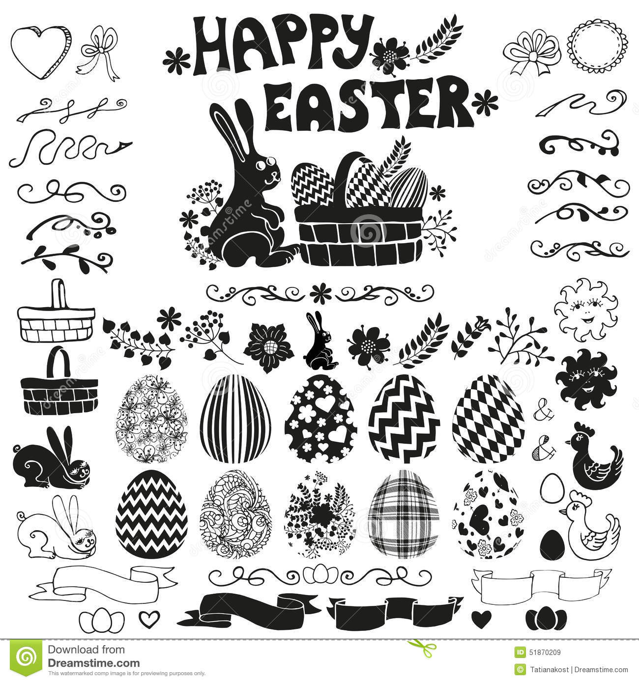 Easter Elements Set Silhouette Stock Vector