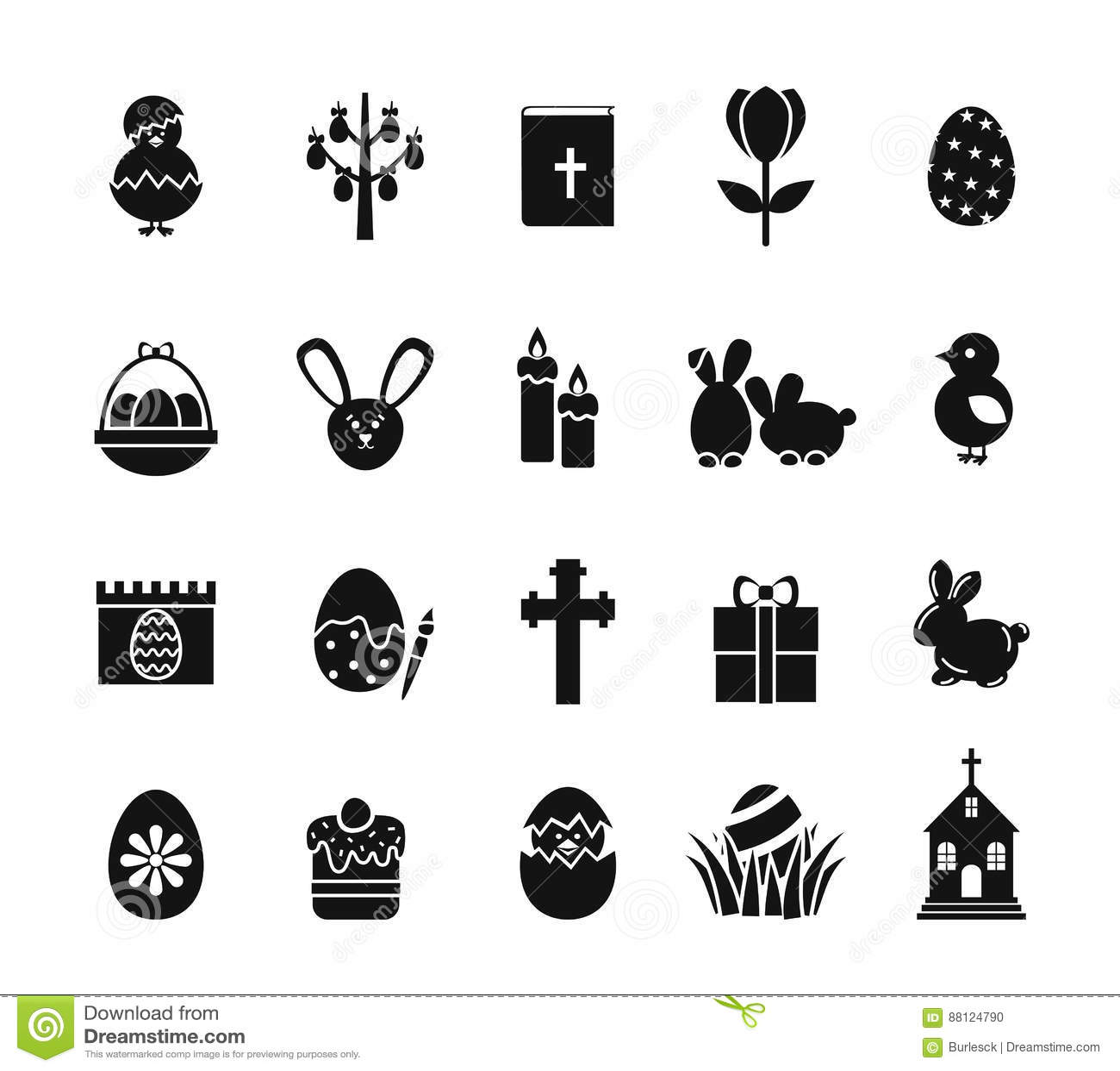 Christianity Black Amp White Icons Vector Illustration