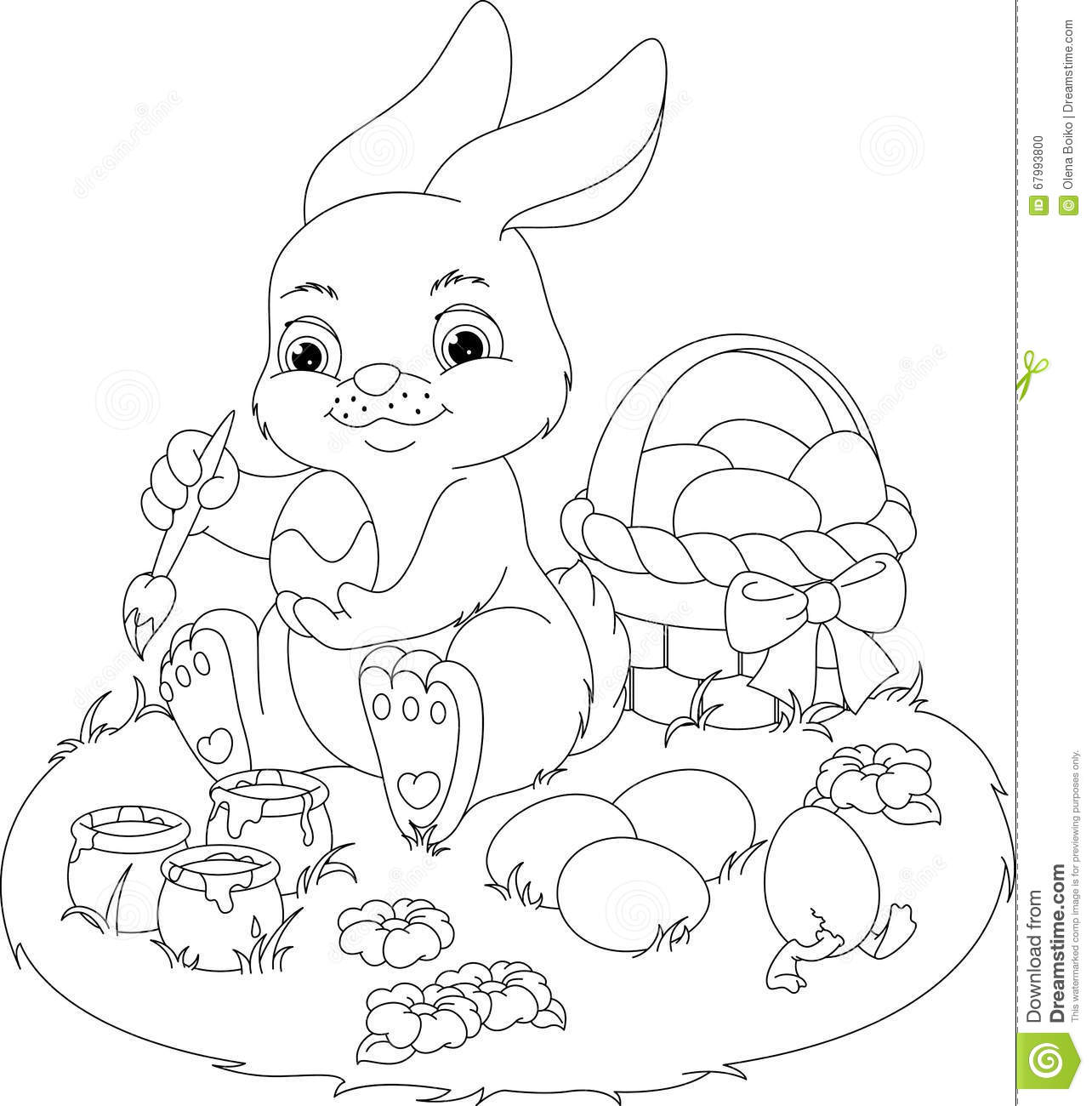 Easter Rabbit Coloring Page Stock Vector