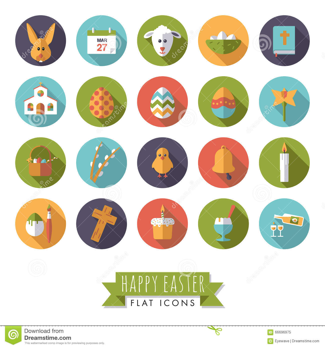 Easter Rabbit Icon Egg Design Flat Cartoon Vector