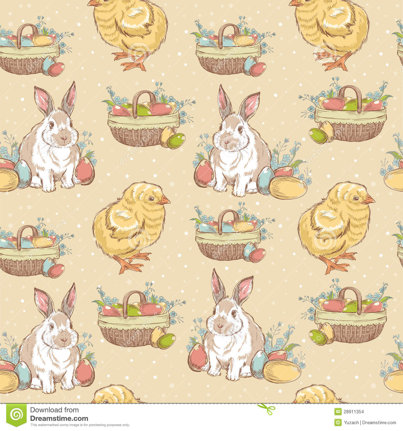 Easter Vintage Hand Drawn Seamless Pattern Stock Images