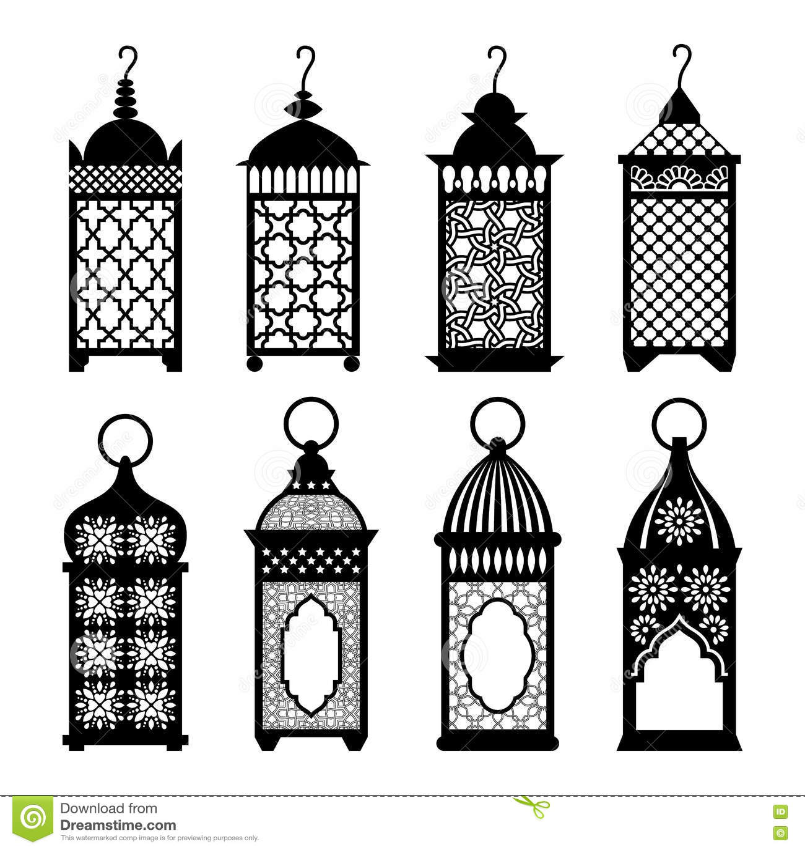 Eastern Arabic Lanterns Set Vector Illustration Stock