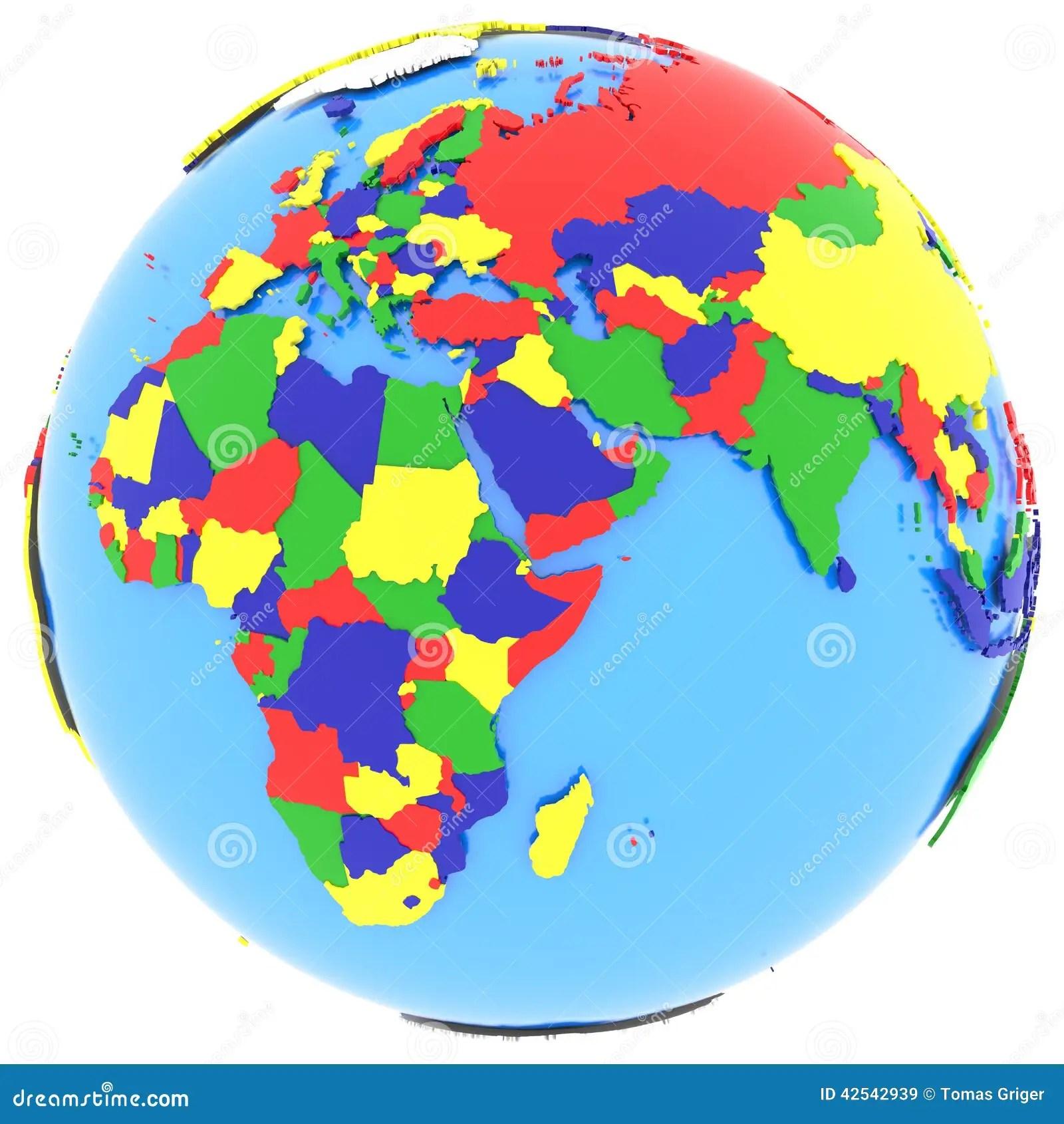 Eastern Hemisphere On Earth Stock Illustration