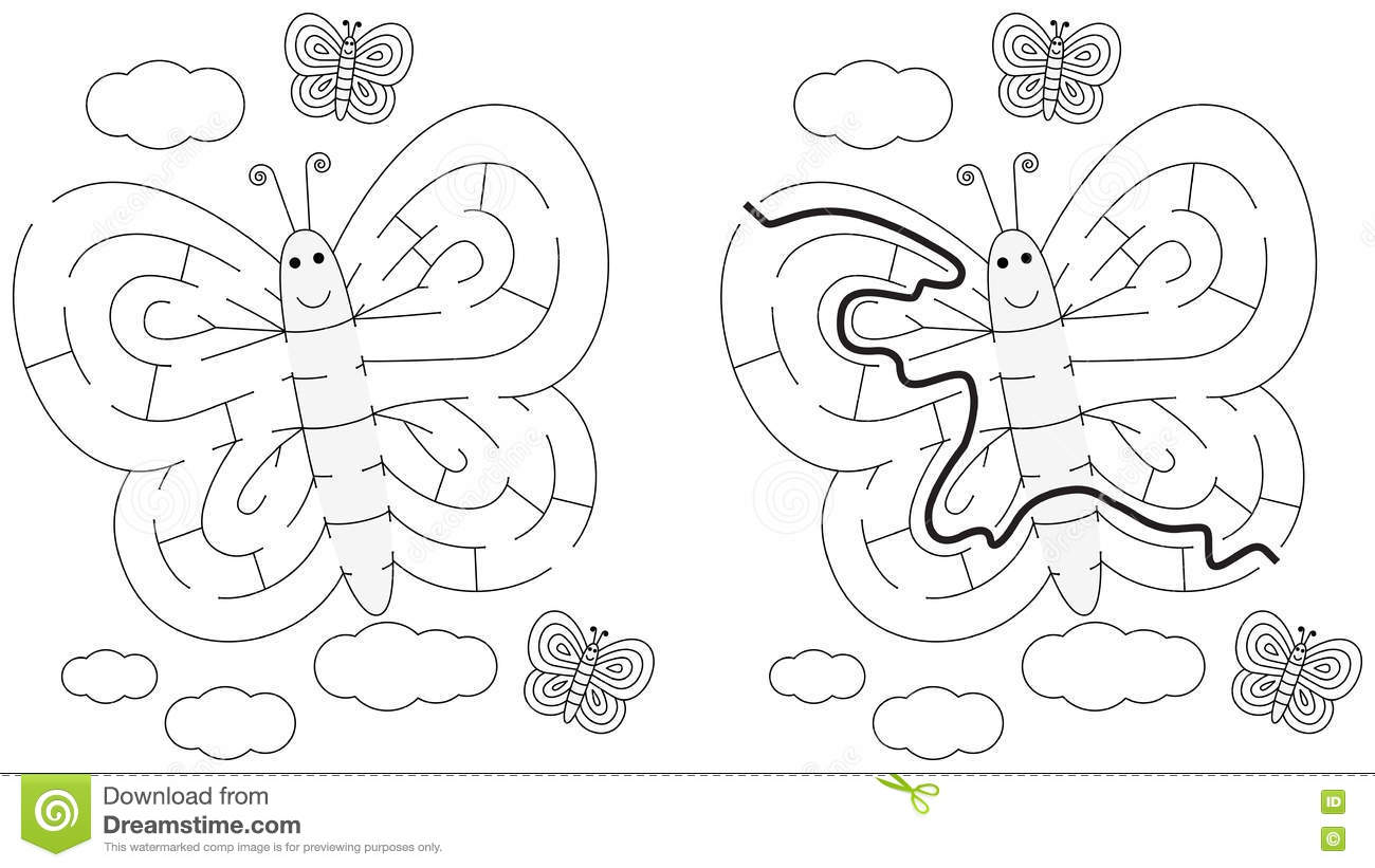 Easy Butterfly Maze Stock Vector Illustration Of Path