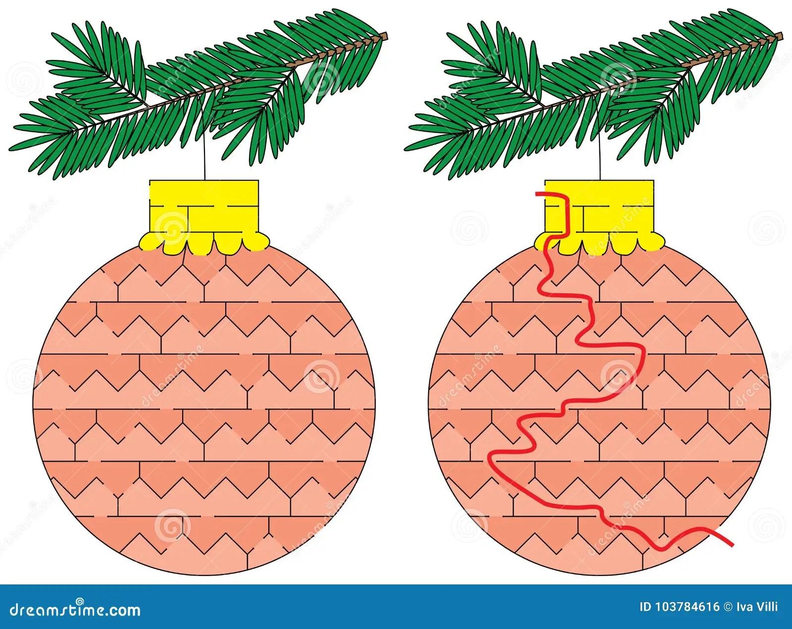 Easy Christmas Ornament Maze Stock Vector