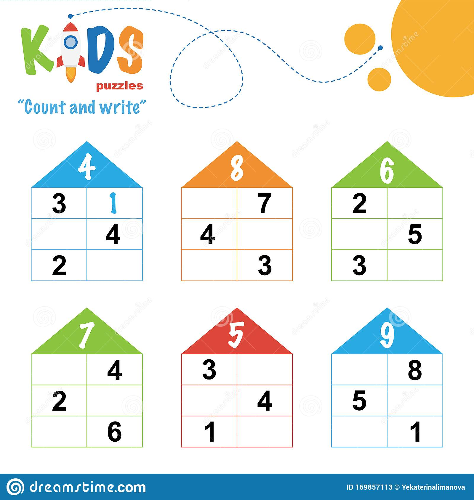 Easy Colorful Math Count And Write Worksheet Practice