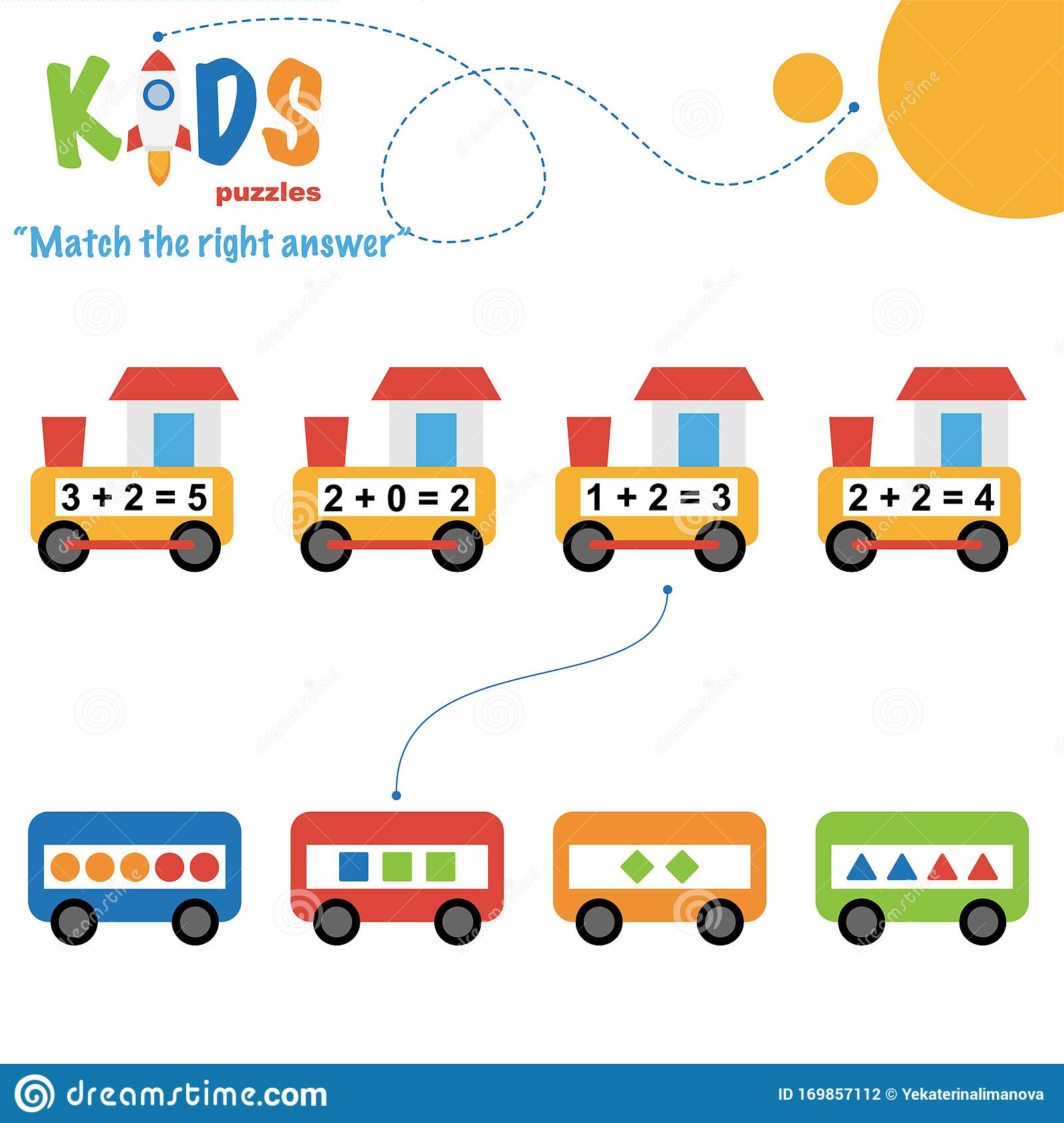 Easy Colorful Math Match The Right Answer Worksheet