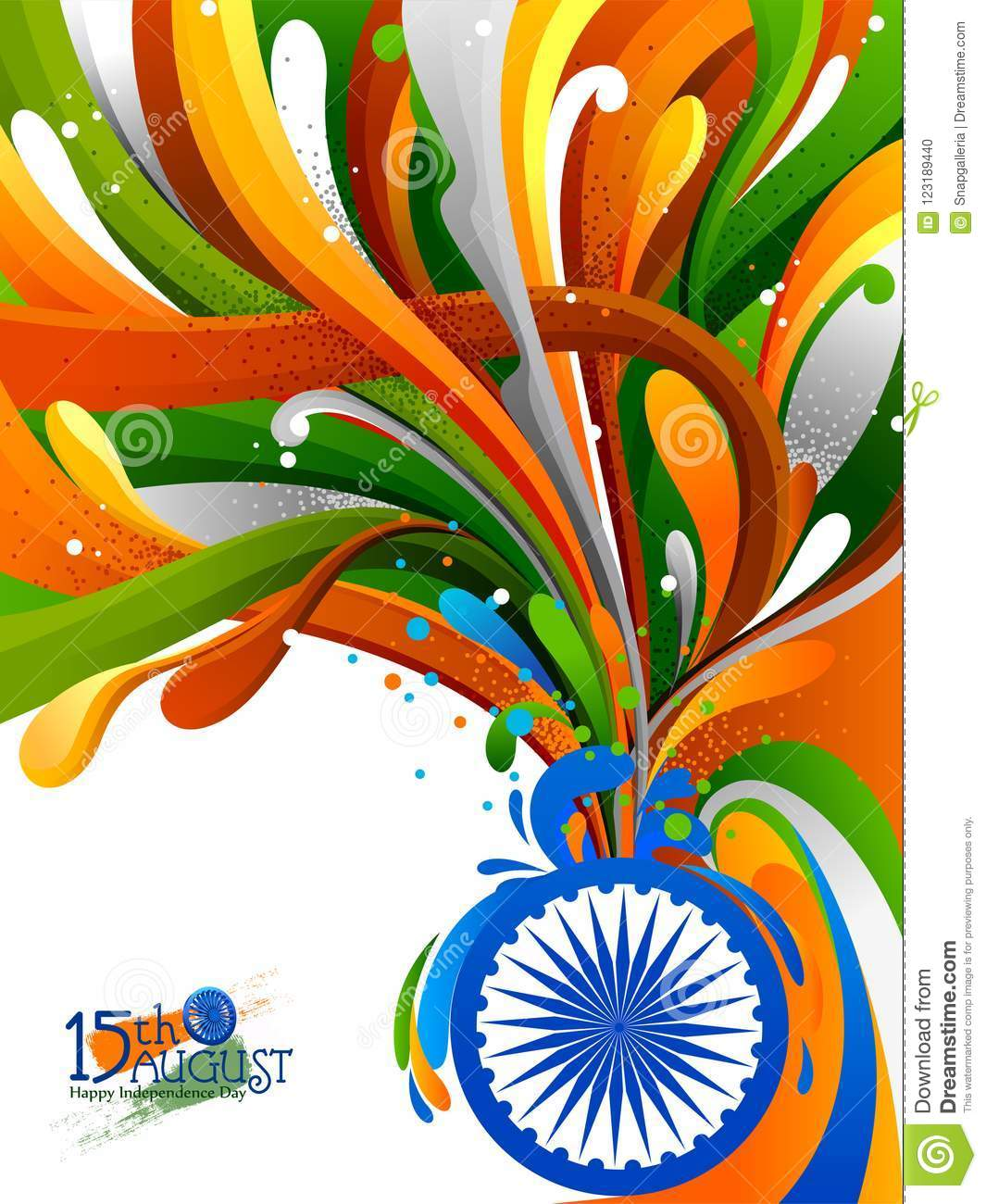 Splash Of Indian Flag On Happy Independence Day Of India