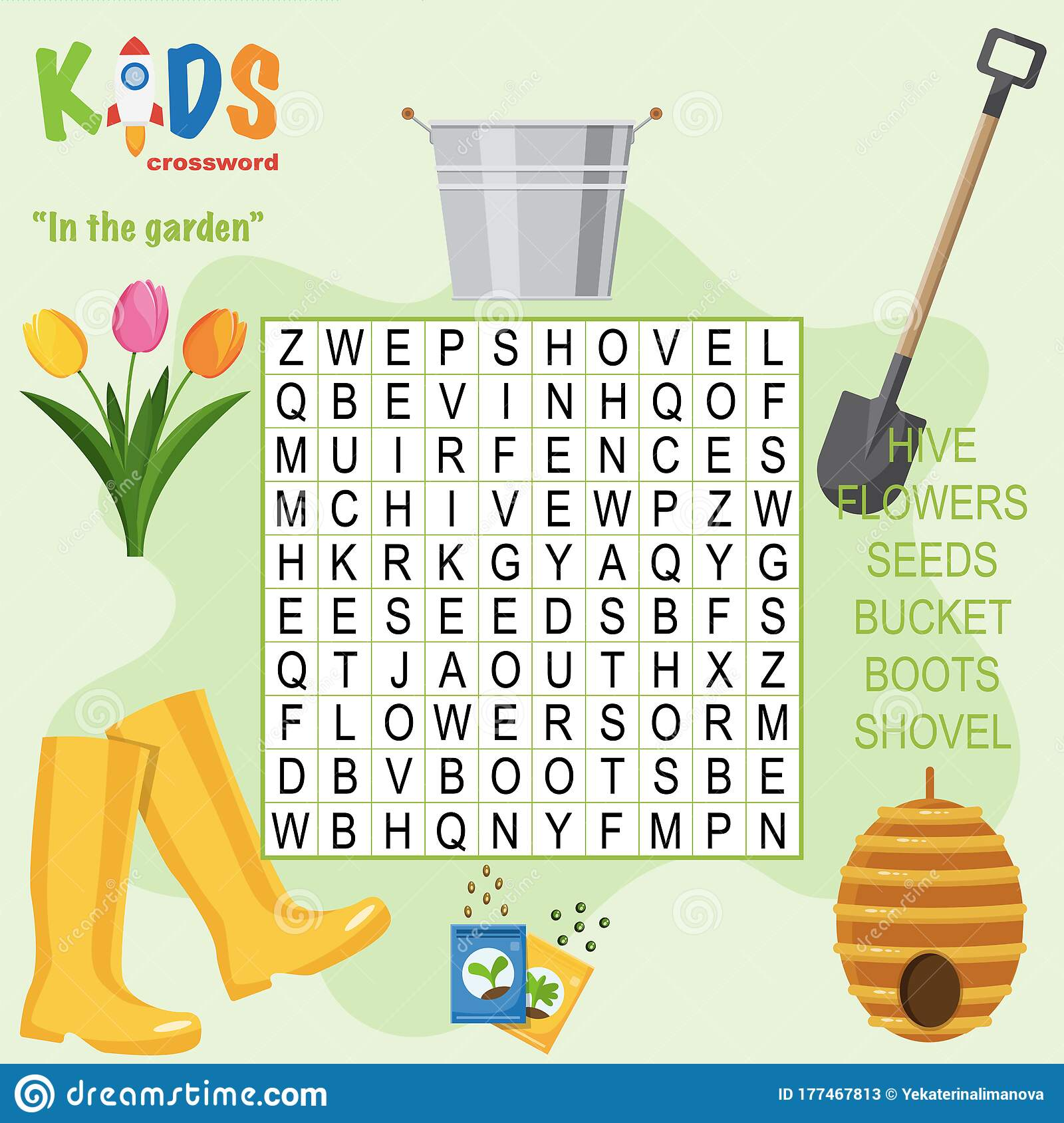 Easy Word Search Crossword Puzzle In The Garden Stock