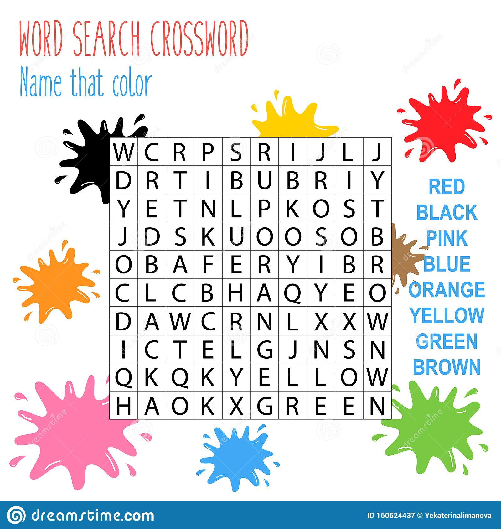 Easy Word Search Crossword Puzzle Name That Color Stock