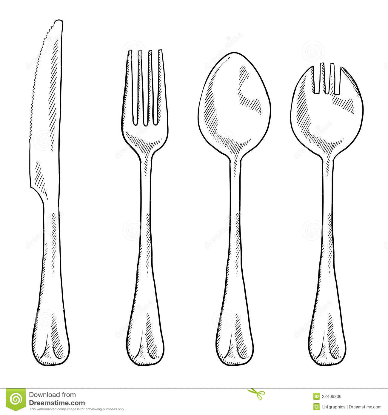 Eating Utensils Drawing Stock Vector Illustration Of