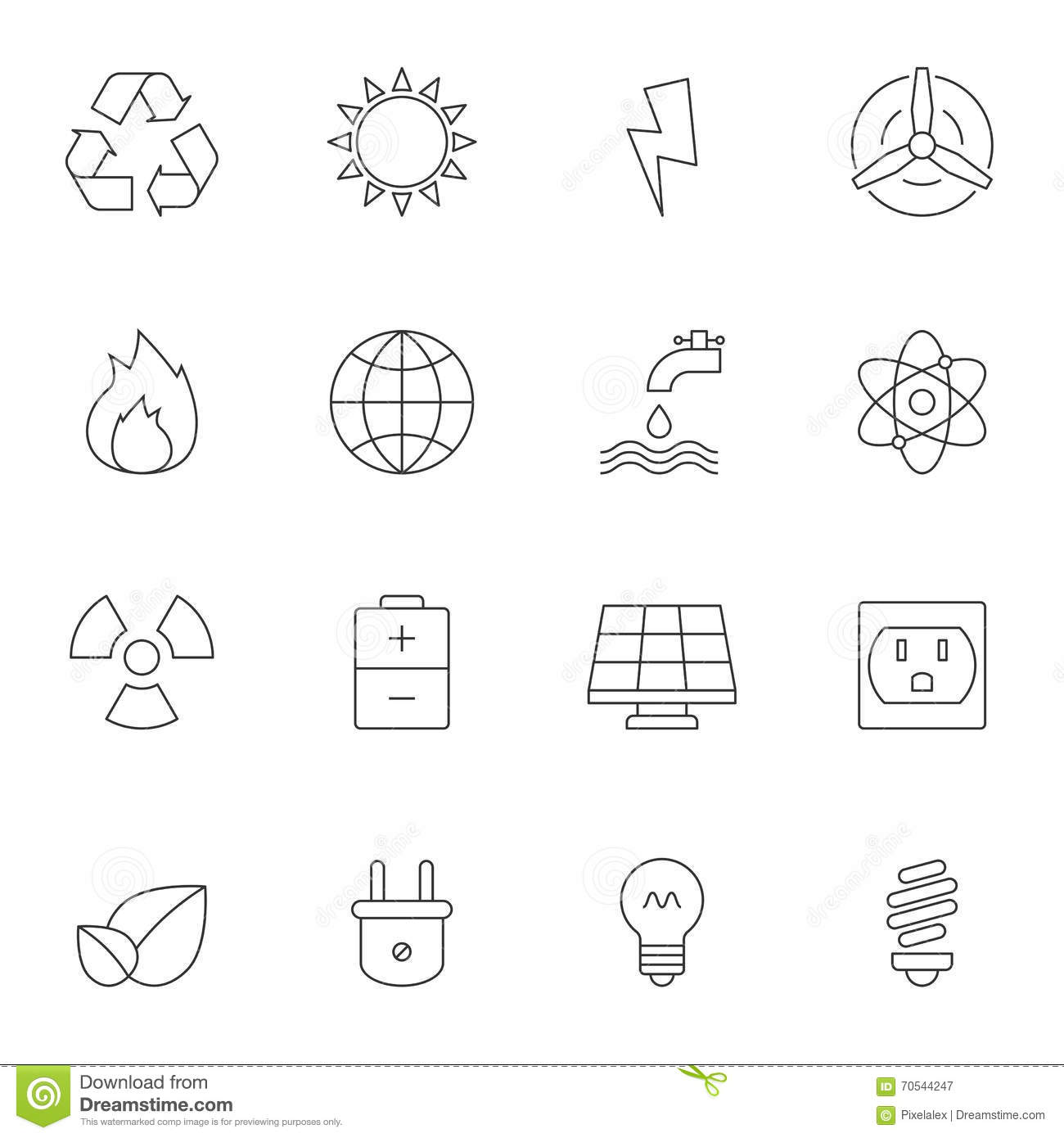 Eco Energy Outline Icons Stock Vector Illustration Of