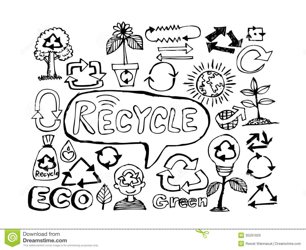 Eco Idea Sketch And Eco Friendly Doodles Royalty Free