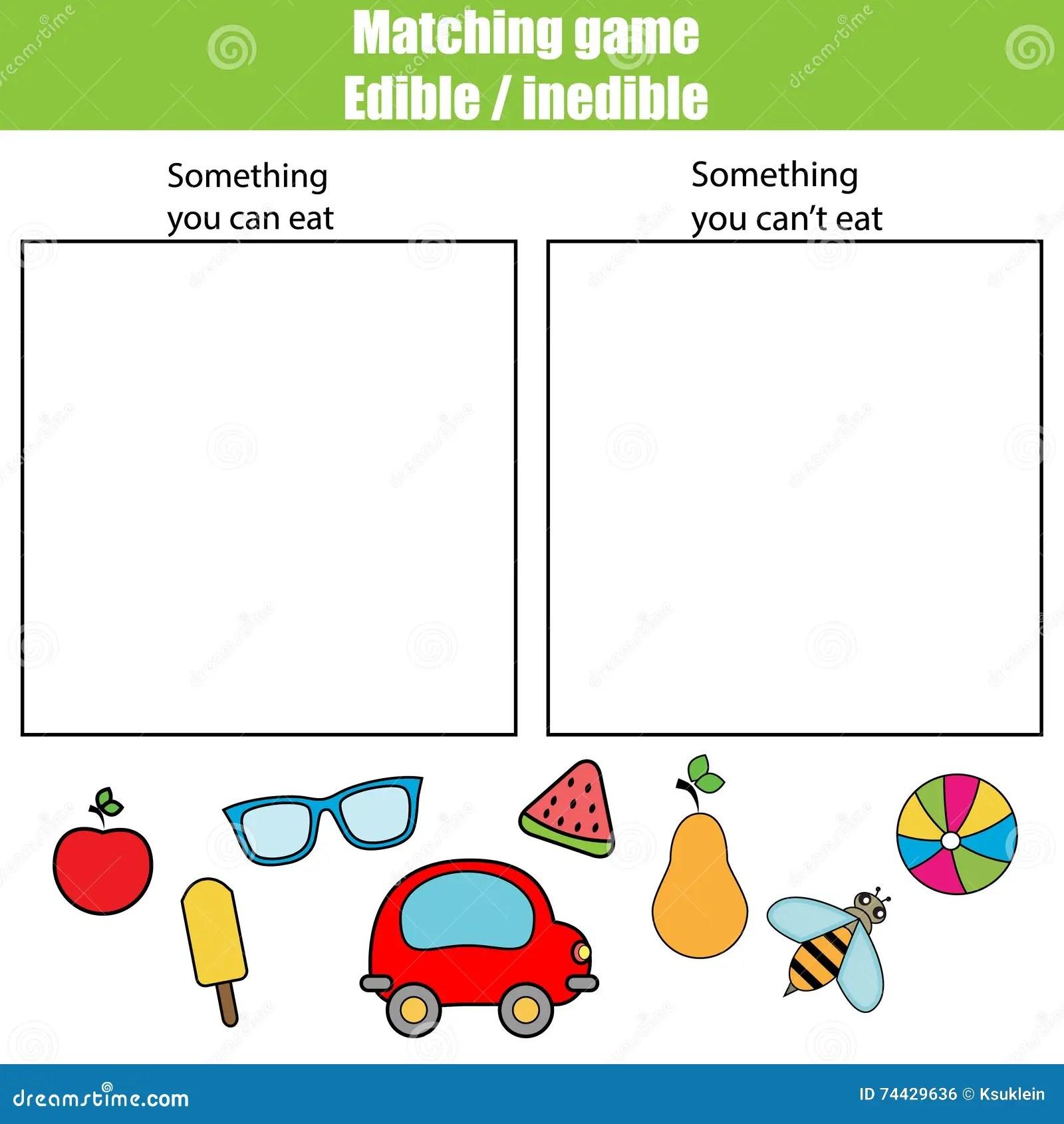Edible Inedible Educational Children Game Kids Activity