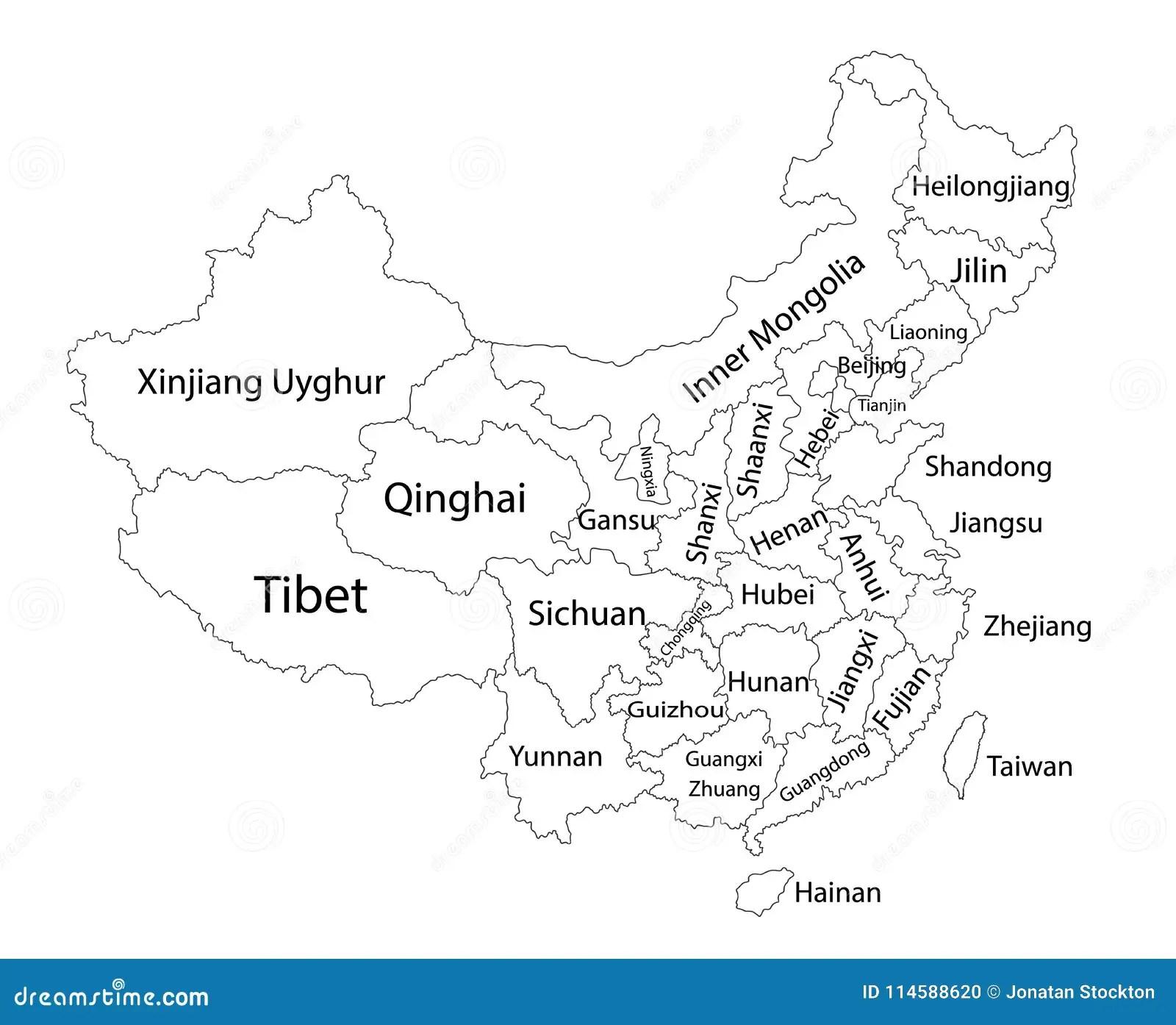 Editable Blank Vector Map Of China Administrative