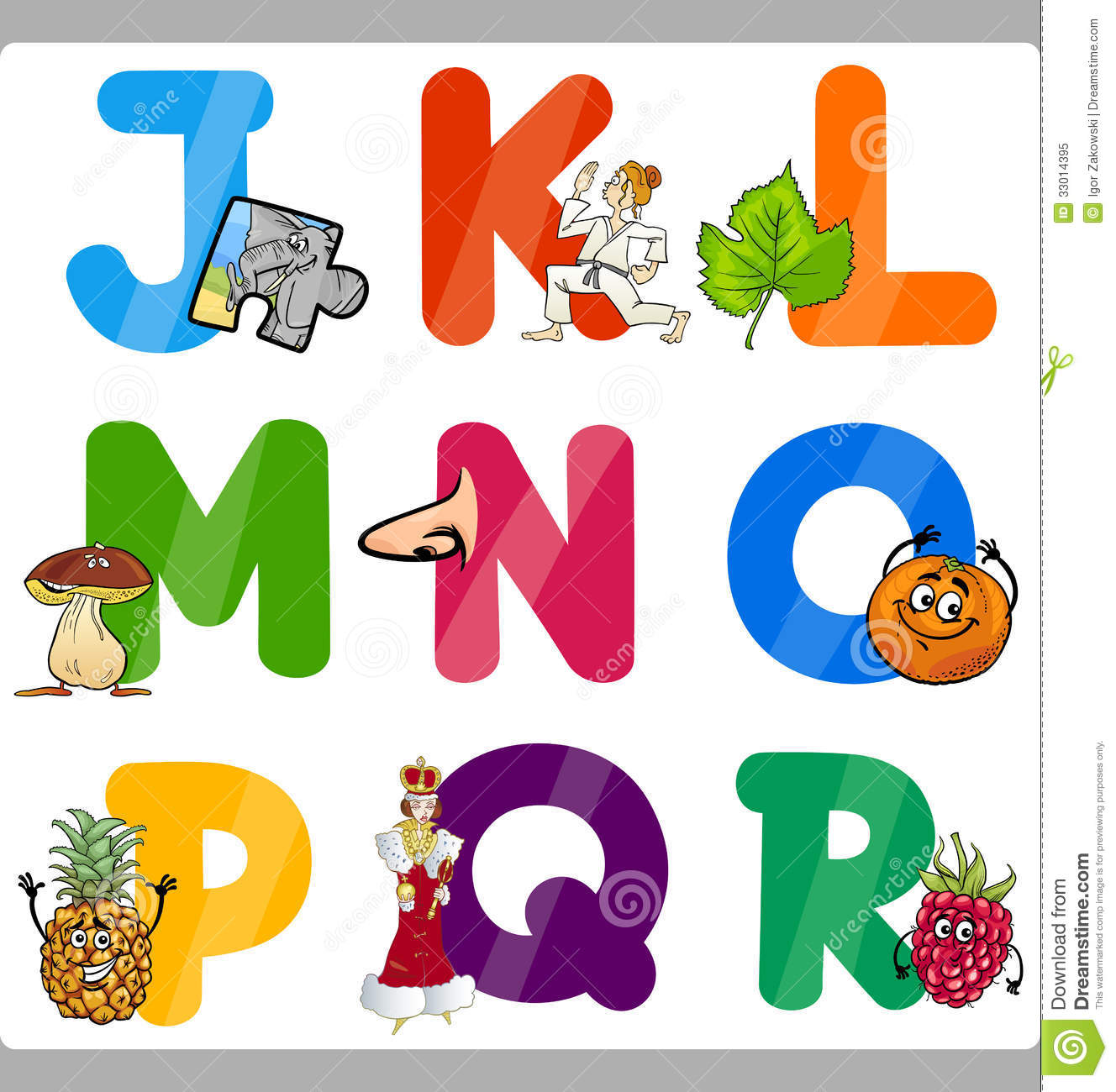 Education Cartoon Alphabet Letters For Kids Stock Vector