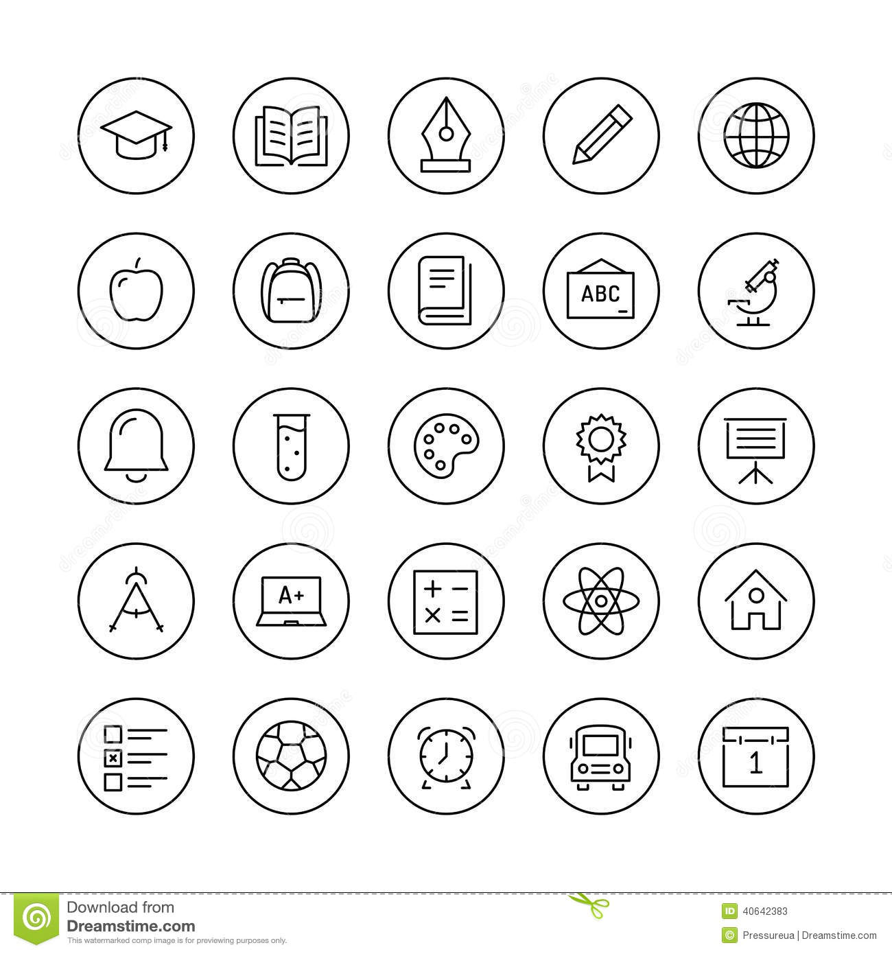 Education Items Thin Line Icons Stock Vector