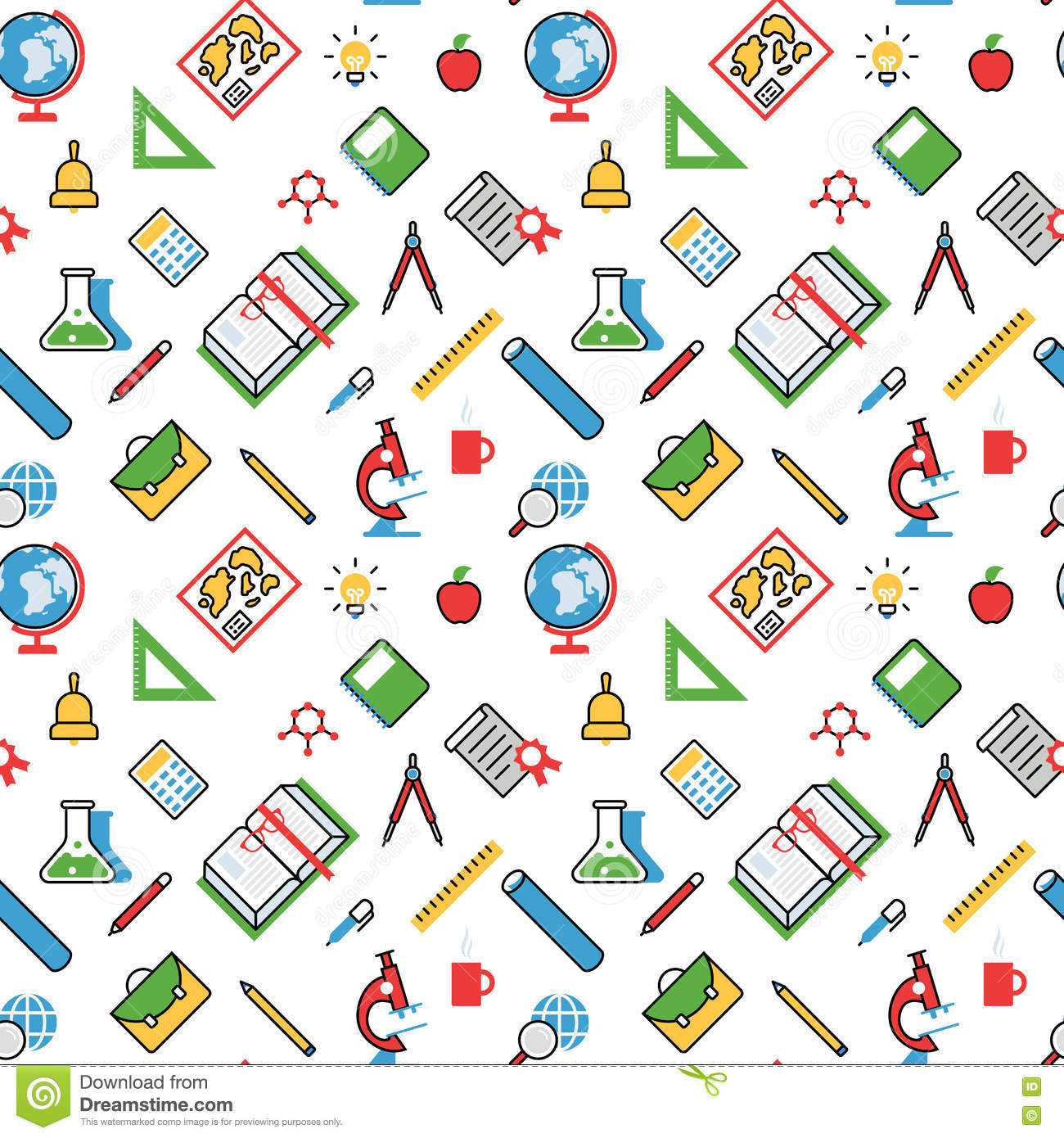Education Objects Pattern Seamless Background Vector