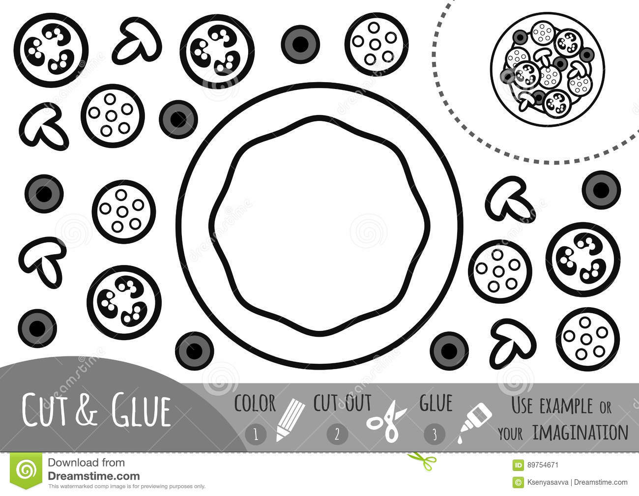 Education Paper Game For Children Pizza Stock Vector
