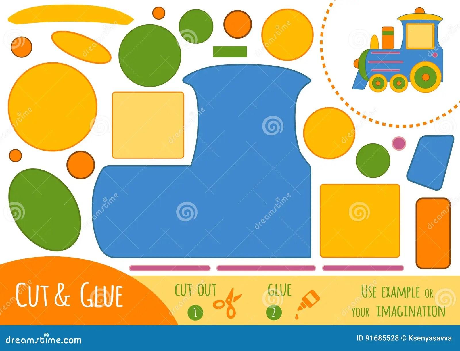 Education Paper Game For Children Train Stock Vector